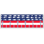 USA fish flag fishing tape measure sticker