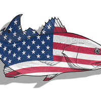 USA Flag Red Fish Sticker