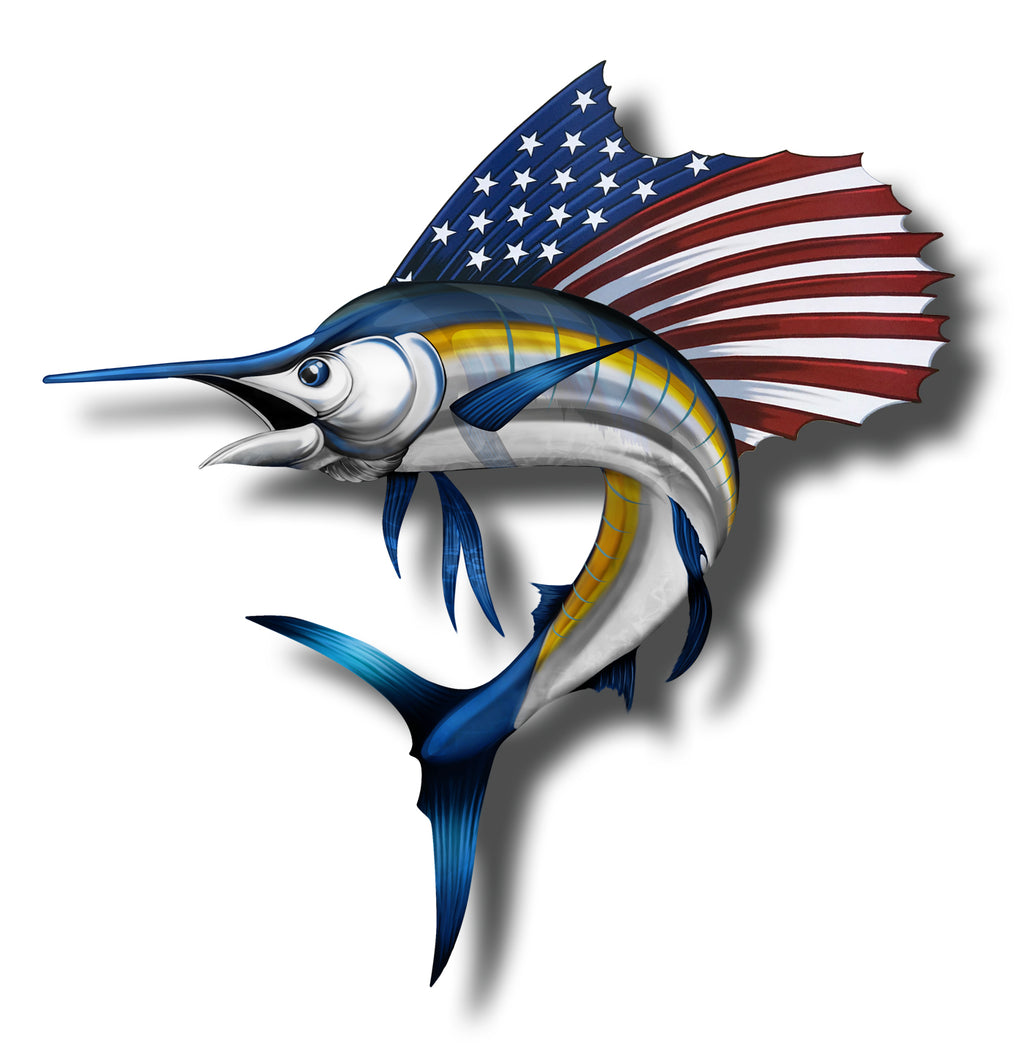 Sailfish USA Flag Sticker