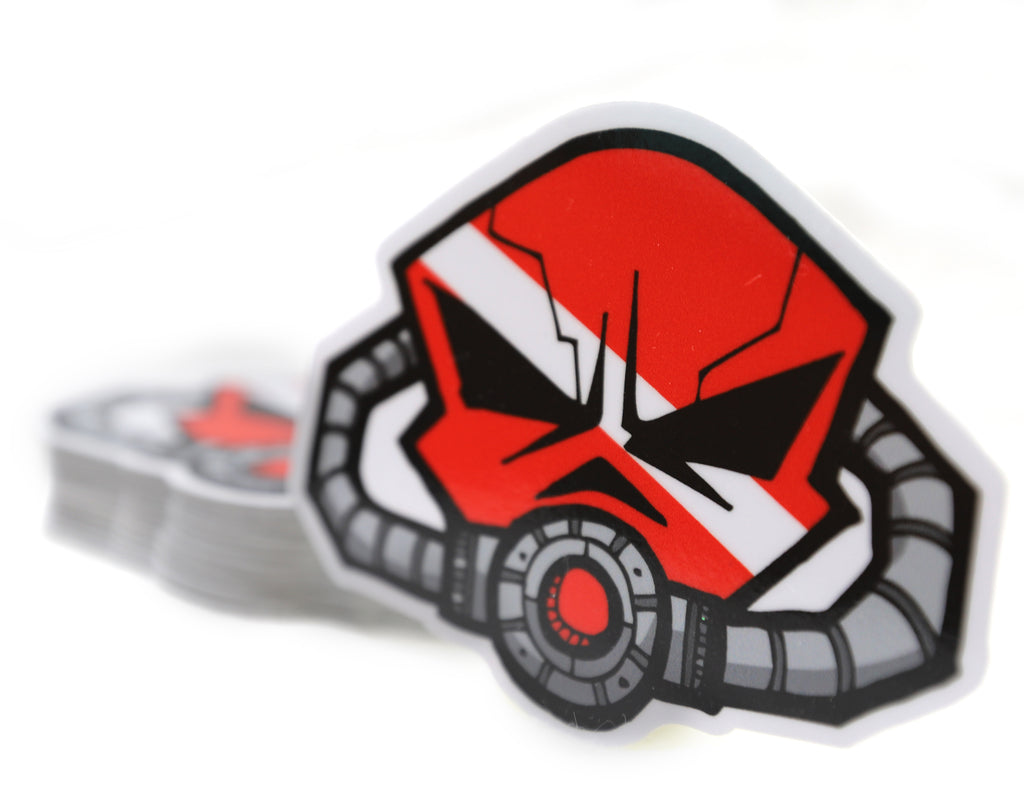 Mini Diver Down Skull Breathe Sticker