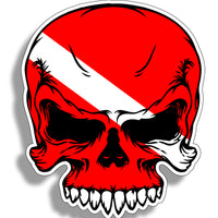 Skull Diver Down Sticker