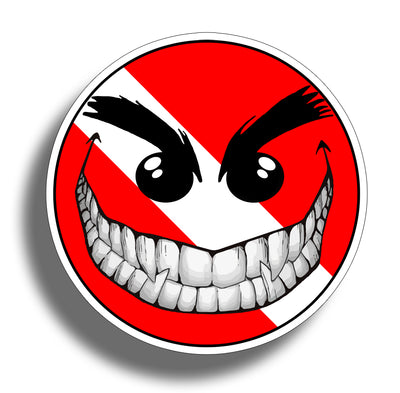 Smiley Face Diver Down Sticker Decal