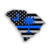 South Carolina State Blue Line American Flag Sticker