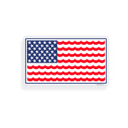 USA Wave Star Fish Flag Sticker