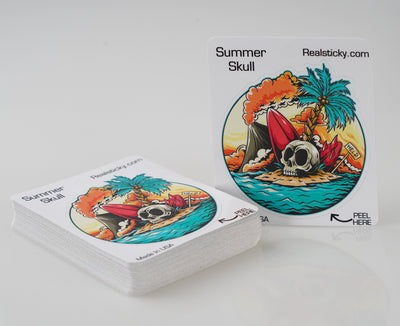 Summer Skull Beach Sticker