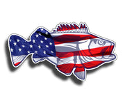 Bass USA Flag Sticker Decal Fish Fishing