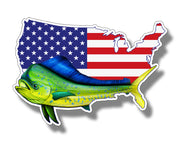 USA Mahi Dolphin Flag Sticker