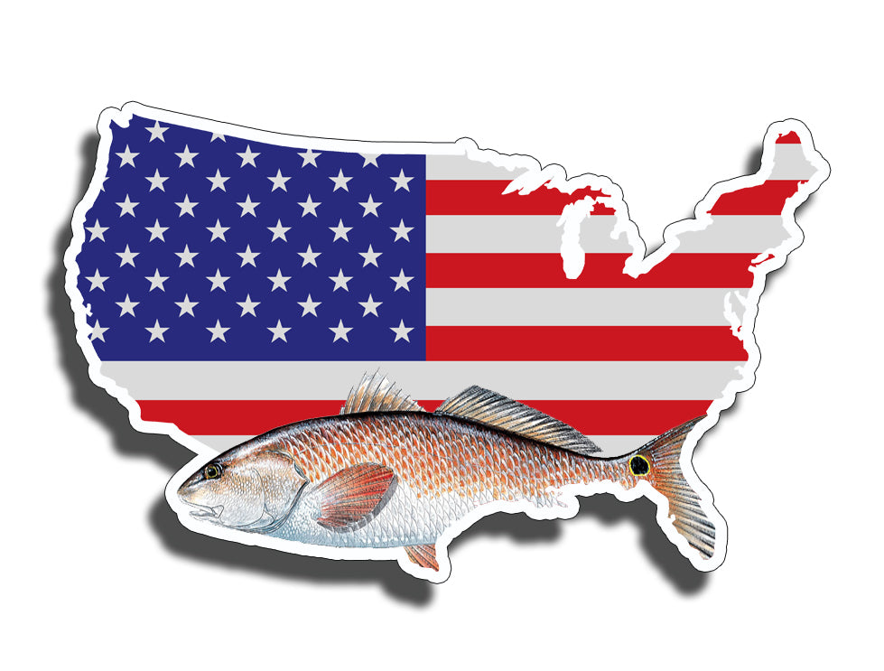 USA Flag Red Drum Fish Sticker