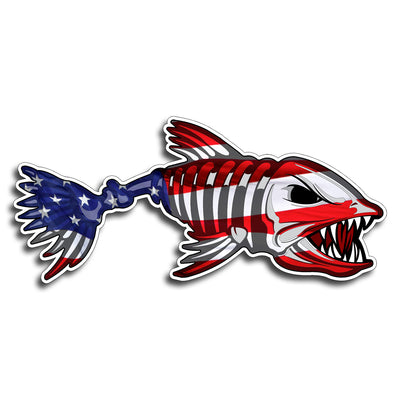 Bone Fish Skull Sticker Decal Fishing Reel USA American