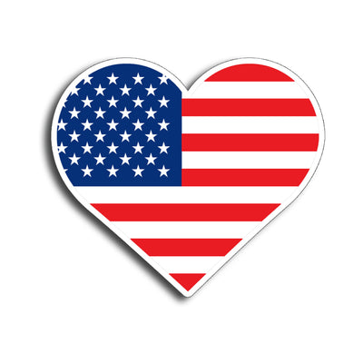 Heart American Flag Sticker
