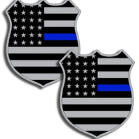 Badge Blue Line USA Flag Sticker