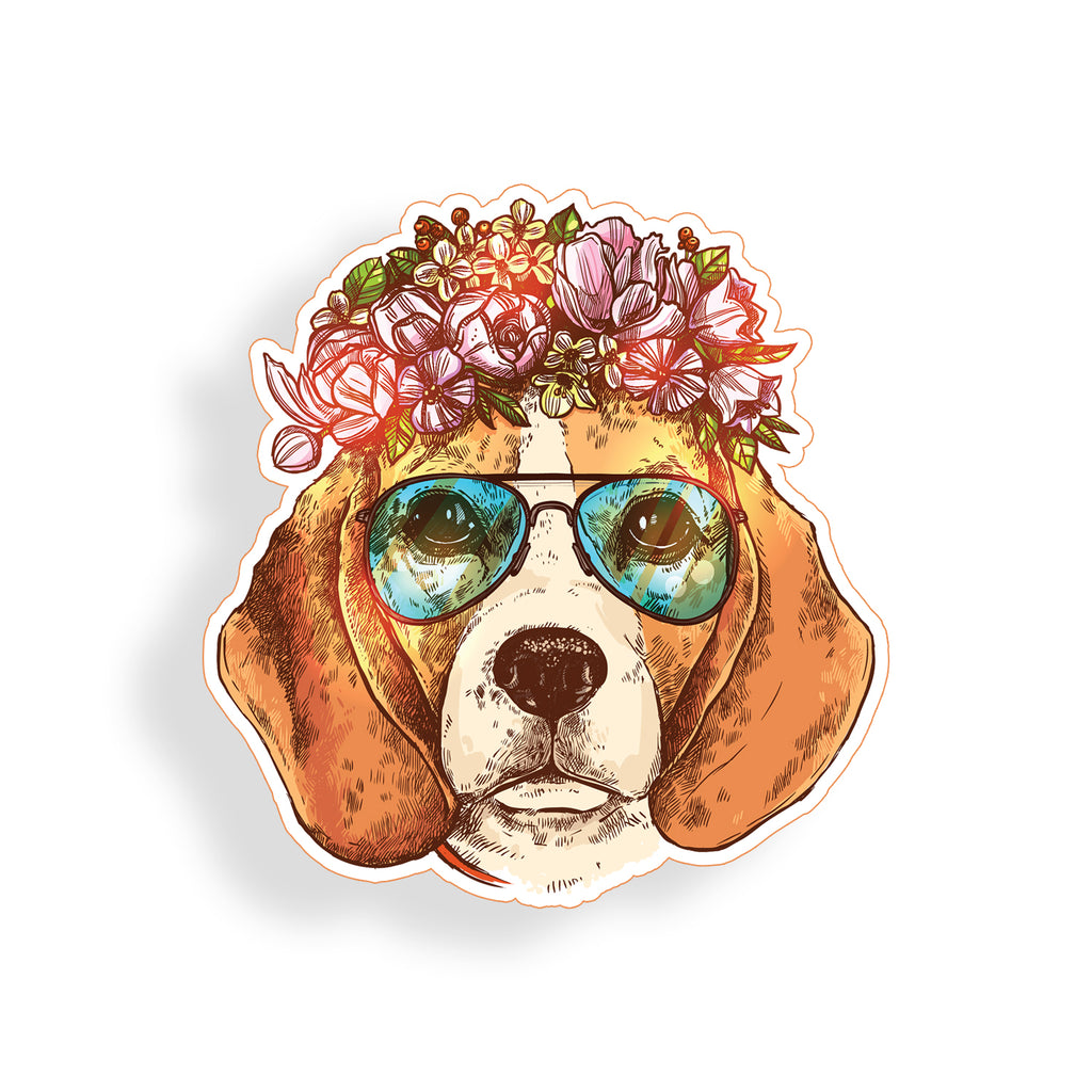 Beagle Dog With Flowers Sticker