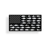 Black and Gray USA Fish Flag Sticker