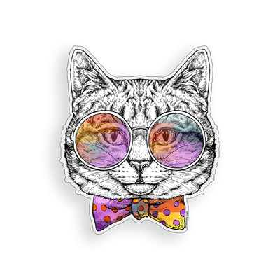 Groovy Bow tie Cat Sticker