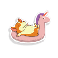 Corgi Swimming in Unicorn float sticker