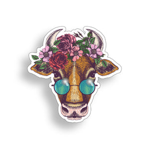 Groovy Cow with Flowers Sticker