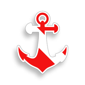 Diver Down Anchor Sticker