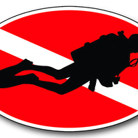 Diver Down Oval Sticker