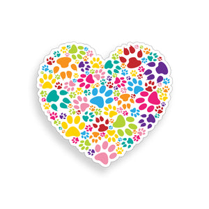 Heart Paw Print Sticker
