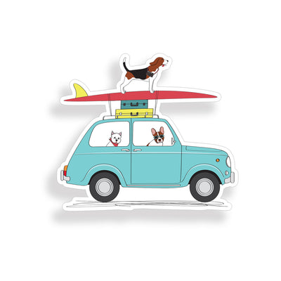 Surfing Dog Sticker
