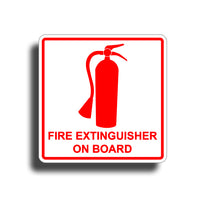 Fire Extinguisher On Board White Sticker Decal