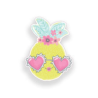 Pineapple wearing Pink Heart Glasses Sticker