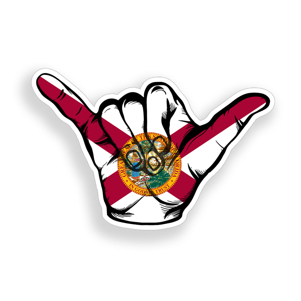 Florida Flag Hang Loose Sticker