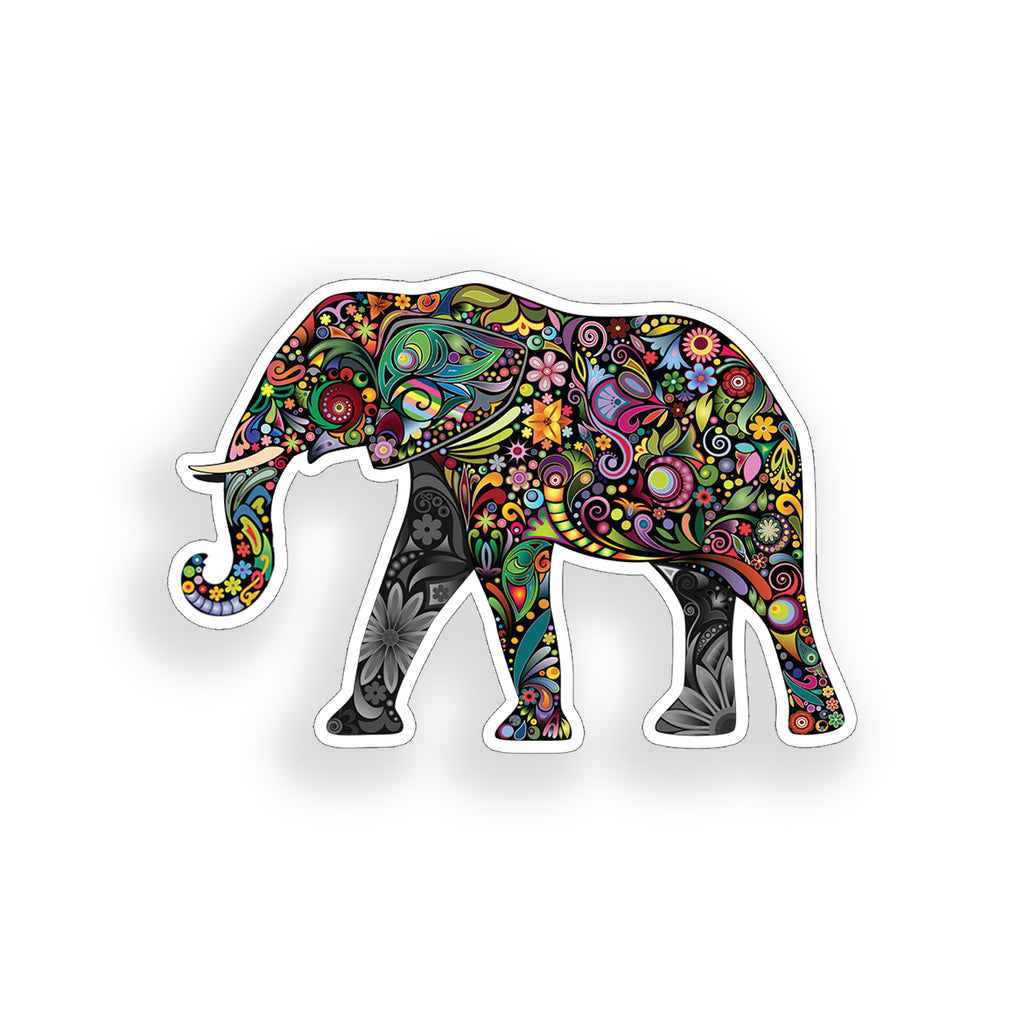 Colorful Elephant Flower Sticker