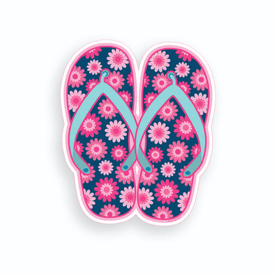 Blue with Pink Flower Flip Flop Sticker