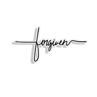 Forgiven Script Sticker