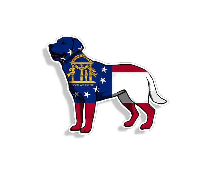 Georgia Flag Labrador Dog Sticker
