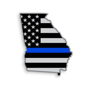 Georgia State Blue Line American Flag Sticker