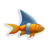 Goldfish Shark Sticker