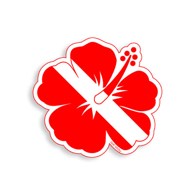 Diver Down Hibiscus Flower Sticker