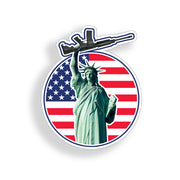 Lady Liberty AR15 USA American Flag Circle Sticker