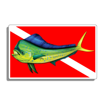 Diver Down Mahi Flag Sticker