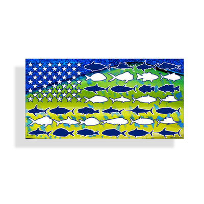 Mahi Mahi USA Fish Flag Sticker