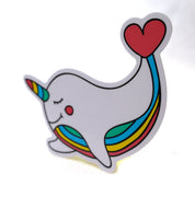 Rainbow Narwhal Unicorn Heart Sticker