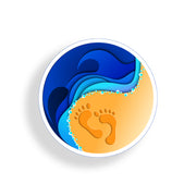 Ocean Footprint Round Sticker