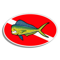 Diver Down Oval Mahi Sticker Decal