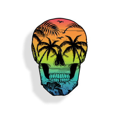 Beach Scene Skull Sticker
