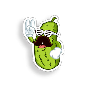 Pickle Mustache Dude Sticker