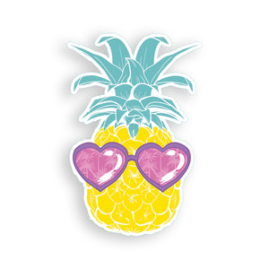 Pineapple with Pink heart Sunglasses Sticker