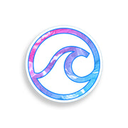 Pink Blue Swirl Wave Circle Sticker