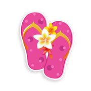 Pink with White Flower Flip Flop Sticker