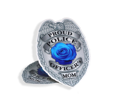 Proud Police Officer Mom Silver Badge Sticker