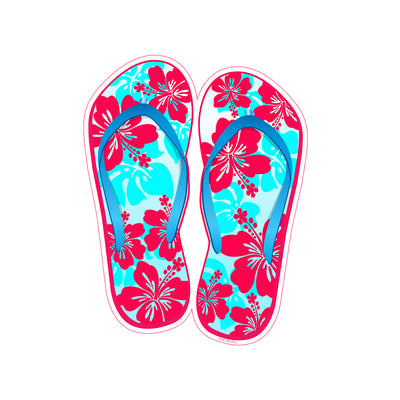 Red Blue Flower Flip Flop Sticker