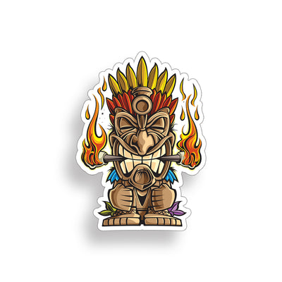 Tiki Guy Flame Sticker
