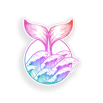 Whale Tale and Waves Sticker