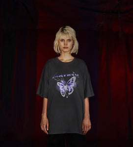 MAYHEM DARK GREY LIGHTNING BUTTERFLY PRINT TEE
